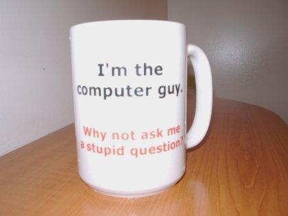IT-mehe jooginõu kirjaga: Olen itimees. Küsige oma lollid küsimused julgesti!